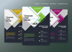 Corporate Flyer Template Design with 3 color choices and geometric shapes