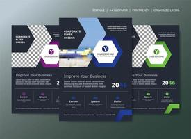 Corporate Flyer Template Design with 3 color choices and hexagon shapes