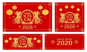 Chinese new year set with gold rat chinese zodiac sign and gong xi fa cai text