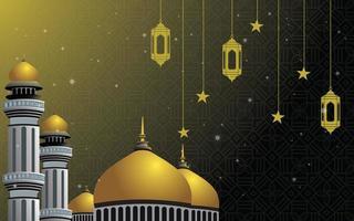 Escena de la mezquita Golden Dome vector