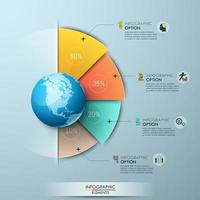 Infographic design template with percentage indication placed around globe