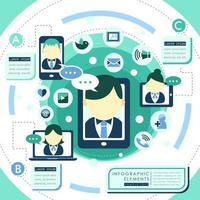 Design de plano de serviço on-line com avatares mostrando no dispositivo vetor