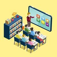 Diseño plano isométrico de educación en línea