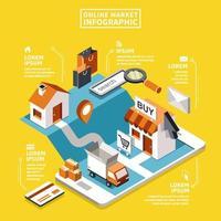 Conceito de mercado on-line isométrico