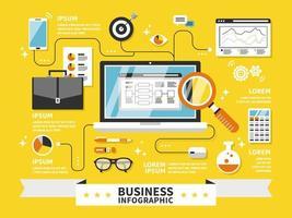 Infographie d'affaires avec des fournitures de bureau