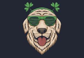 Dog head with sunglasses St. patrick's day design