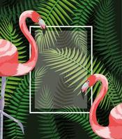 square frame with flamingos and branches leaves