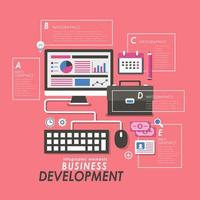 Business development concept with office supplies vector