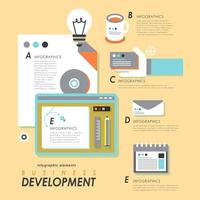 Business development infographic with office supplies vector