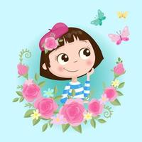 Cartoon girl in a wreath of roses flowers with butterflies vector