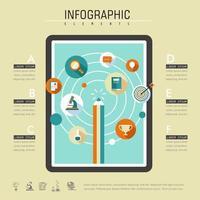 Infográfico de educação on-line com tablet e ícones