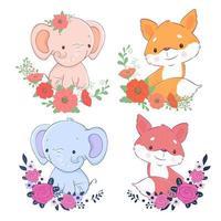 Conjunto de dibujos animados de elefante y zorro con flores.
