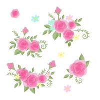 Cartoon set of roses  vector