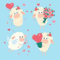 Cartoon lamb set for St. Valentine's Day. Vector illustration