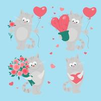Tecknad kattuppsättning för St. Valentine's Day.