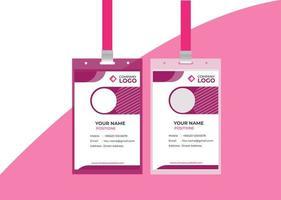 Modèle de couleur rose de carte d'identité de bureau