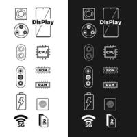 Computer and mobile icon shape symbols set vector