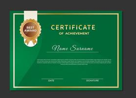 Certificate of achievement green color template vector