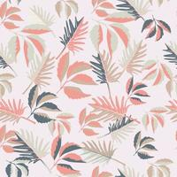 Pink tropical leaves seamless pattern vector