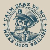 Illustration of a captain skull in vintage style