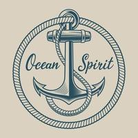 T-shirt design with an anchor in vintage style