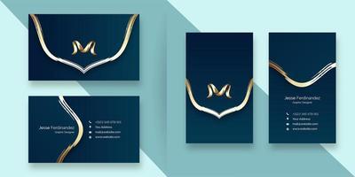 Plantilla elegante de la tarjeta de visita del estilo de la línea de la curva del color azul profundo