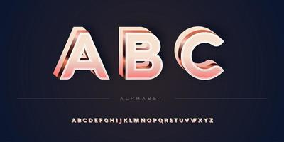 Layered rose gold 3D alphabet set vector