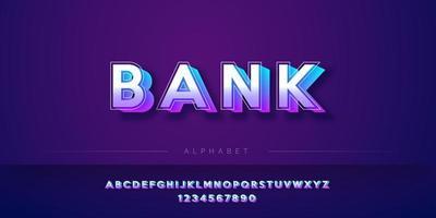 Jeu d'alphabet de style gras 3D moderne