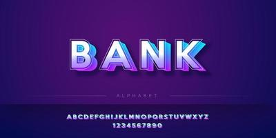 Modern 3D bold style alphabet set