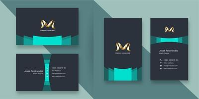 Modern corporate  deep grey and greenish blue business card template