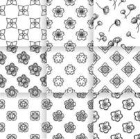 Flower seamless pattern set vector