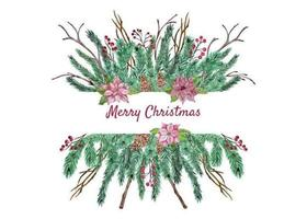 Christmas floral arrangement vector