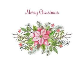 Merry Christmas floral poinsettia arrangement vector