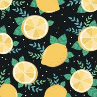 Fresh lemon sliced and leaves pattern