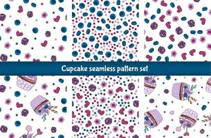 cupcake seamless pattern set
