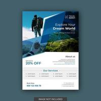 Tours and travel flyer template vector