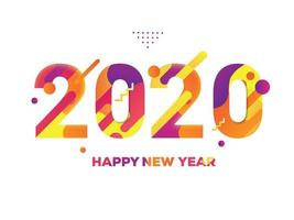 Colorful New Year 2020 Text White Background