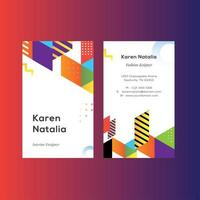 Geometric Colorfull Vertical Name Card template vector