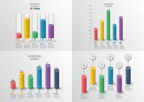 Graphs and charts set. Infographic business concept with 4, 5 options