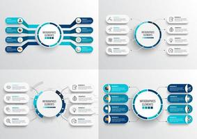 Set 4 Step infographic templates with 3D paper label, integrated circles