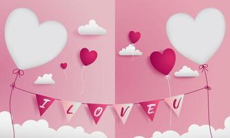 Valentine greeting card with paper craft style