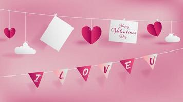 Valentine 's day paper craft concept contain two white strings vector