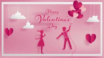 Concetto di arte di carta del biglietto di S. Valentino con una coppia dell'amante