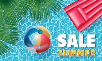 Sale summer banner with inflatable ball and mattress