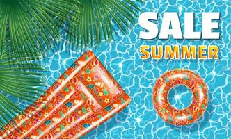 Summer Sale Banner with inflatable tube and mattress