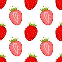 Strawberry fruit seamless pattern vector