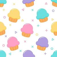 kawaii Cute Pastel Cupcake Sweet summer desserts Seamless pattern