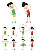man and woman fitness exercise set