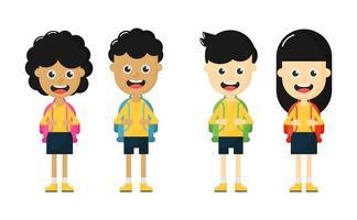 set of happy Cute School kids cartoon characters
