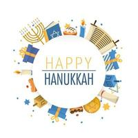 happy hanukkah celebration and culture tradition vector